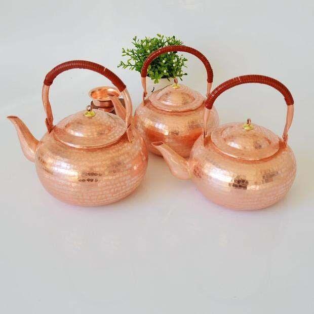 1 PC Pure Copper Teapot Pot Handmade Kettle Purple