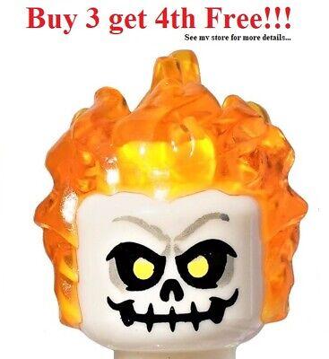 Minifigure Headgear Head Cover LEGO Flame Head Piece Trans-Orange