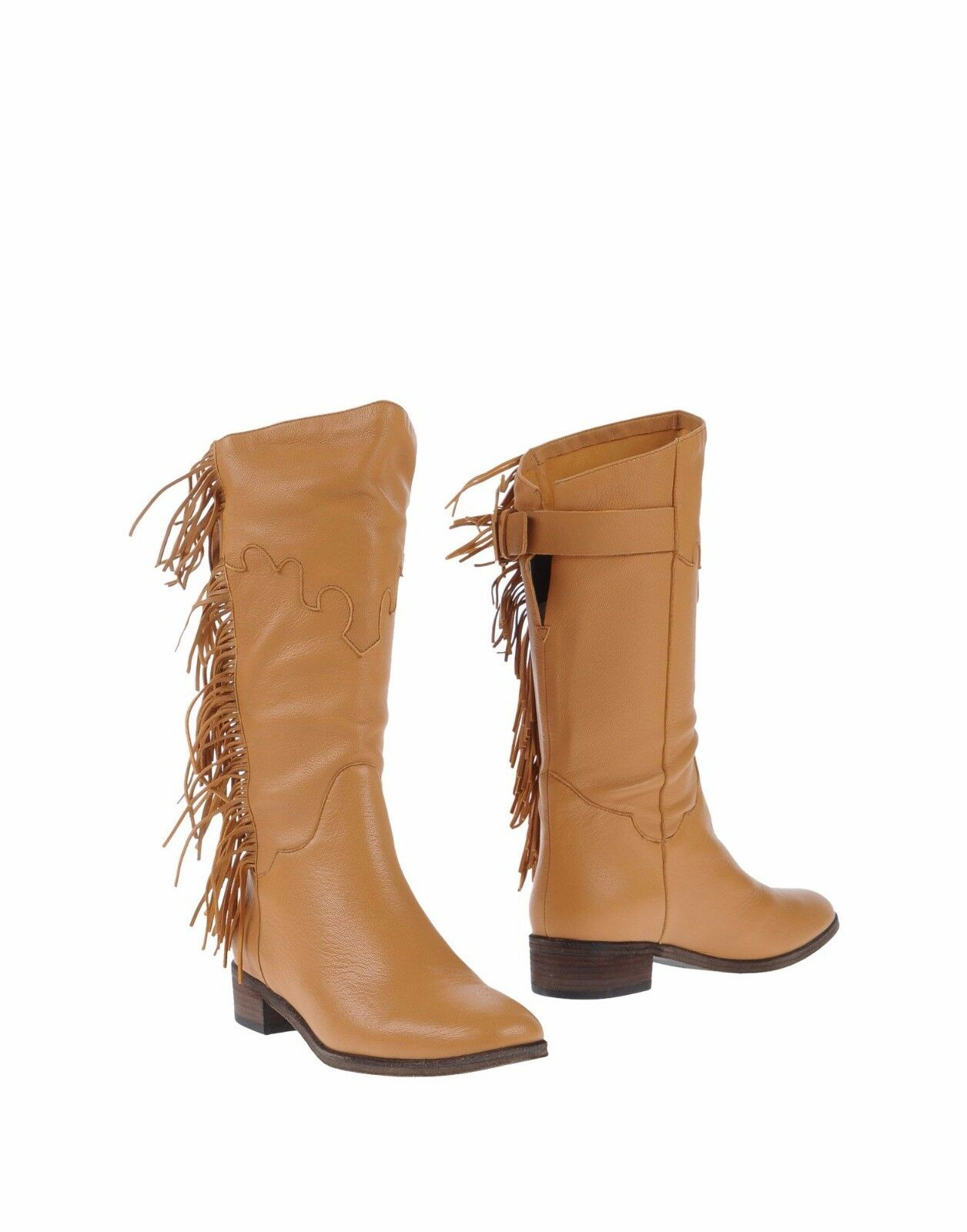 NEW SEE BY CHLOE SZ 5.5 FRINGE TAN LEATHER BOOT HEEL BISCOTTI  RET 520