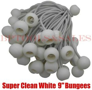 "(100) 9"" WHITE BALL BUNGEE Bungie Cord Heavy Duty Canopy Tarp Tie Down Accessory"