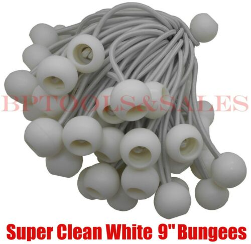 "100 9/"" WHITE BALL BUNGEE Bungie Cord Heavy Duty Canopy Tarp Tie Down Accessory"