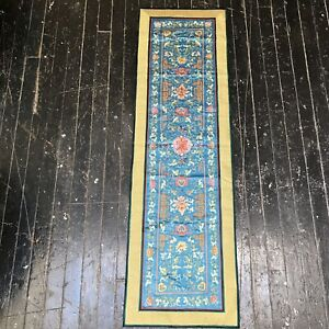 VTG-Chinese-Silk-Long-Tapestry-Embroidered-Flower-Garden-Blue-Wall-Hanging-China
