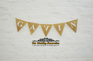 name personalized birthday banner party name burlap bunting hessian