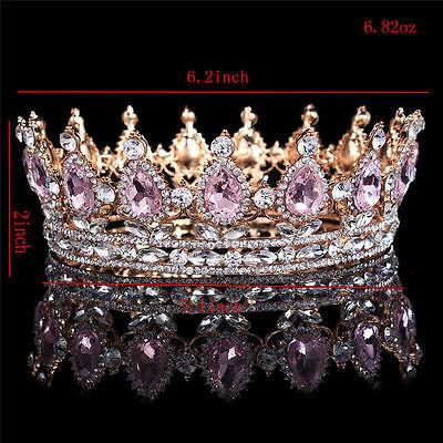 Princess Pink Crystal Tiaras Headband Prom Gold Queen Rhinestone Crown Diadem