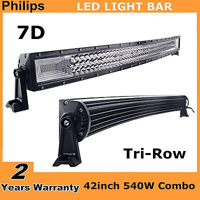 42INCH 540W CURVED TRI-ROW LED LIGHT BAR COMBO OFFROAD 4WD TRUCK ATV PK 240W 7D
