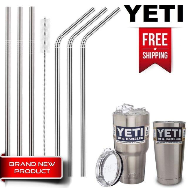 6 Drinking Straws Stainless Steel Tumbler YETI Cup Travel Mug & Reusable Brush