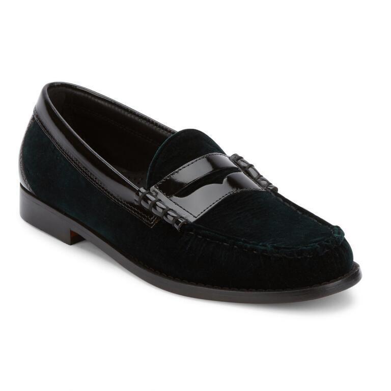 Mens Weejuns G.H. Bass Leather, Velvet schuhe Penny Loafer 70-60427 Larson Grün