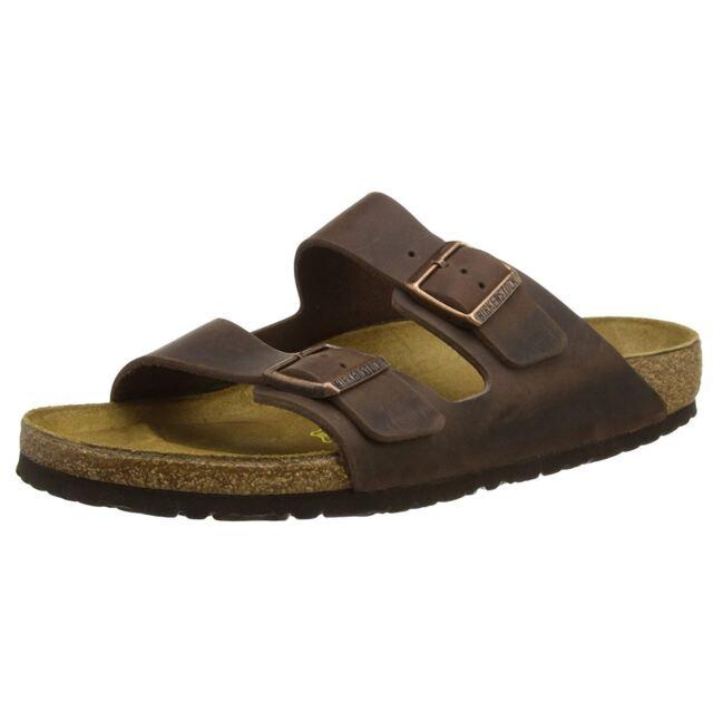 16b3e9057356 Birkenstock Arizona Habana Womens Leather Two Strap Regular Fit Slide  Sandals