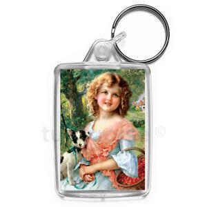 Vintage-Girl-Art-Keyring-Gift-Key-Fob-Keychain-Medium-Size