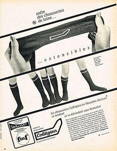 PUBLICITE-ADVERTISING-1966-COLLEGIEN-chaussettes-extensibles