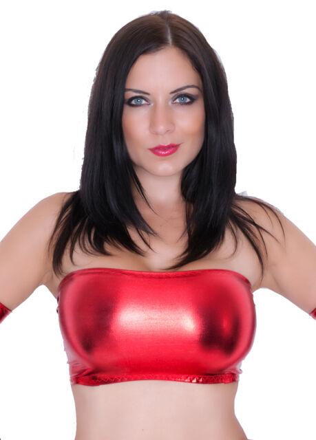 RED METALLIC PVC WET LOOK LYCRA SPANDEX BOOB TUBE TOP BANDEAU PARTY DANCER B132