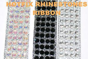 Ruban-Hotfix-Iron-on-Verre-Strass-Rond-Gemmes-Bande-Decoration-Craft-Perle