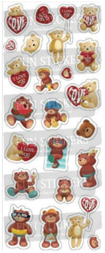 Teddy with Red Hearts 807 STICKER SHEET 2 sheets