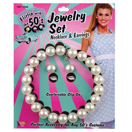 1950S perle effet collier /& boucle d/'oreille set costume robe fantaisie bijoux