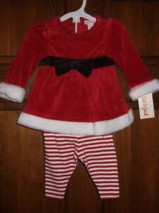 edf9d922a NWT ~ Cat & Jack 3 pc Christmas red velour top Santa hat striped ...