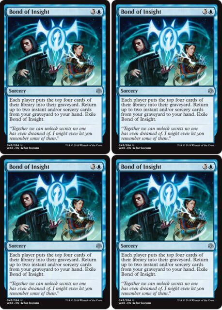 4x BOND OF INSIGHT War of the Spark MTG Blue Sorcery Unc
