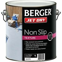 Berger Jet Non Slip Texture Paint 4l White, Water Based, Low Odour Formula
