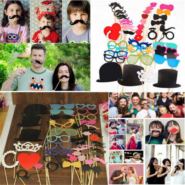 44pcs Photo Booth Props Lips Moustache On A Stick For Wedding Party Decoration