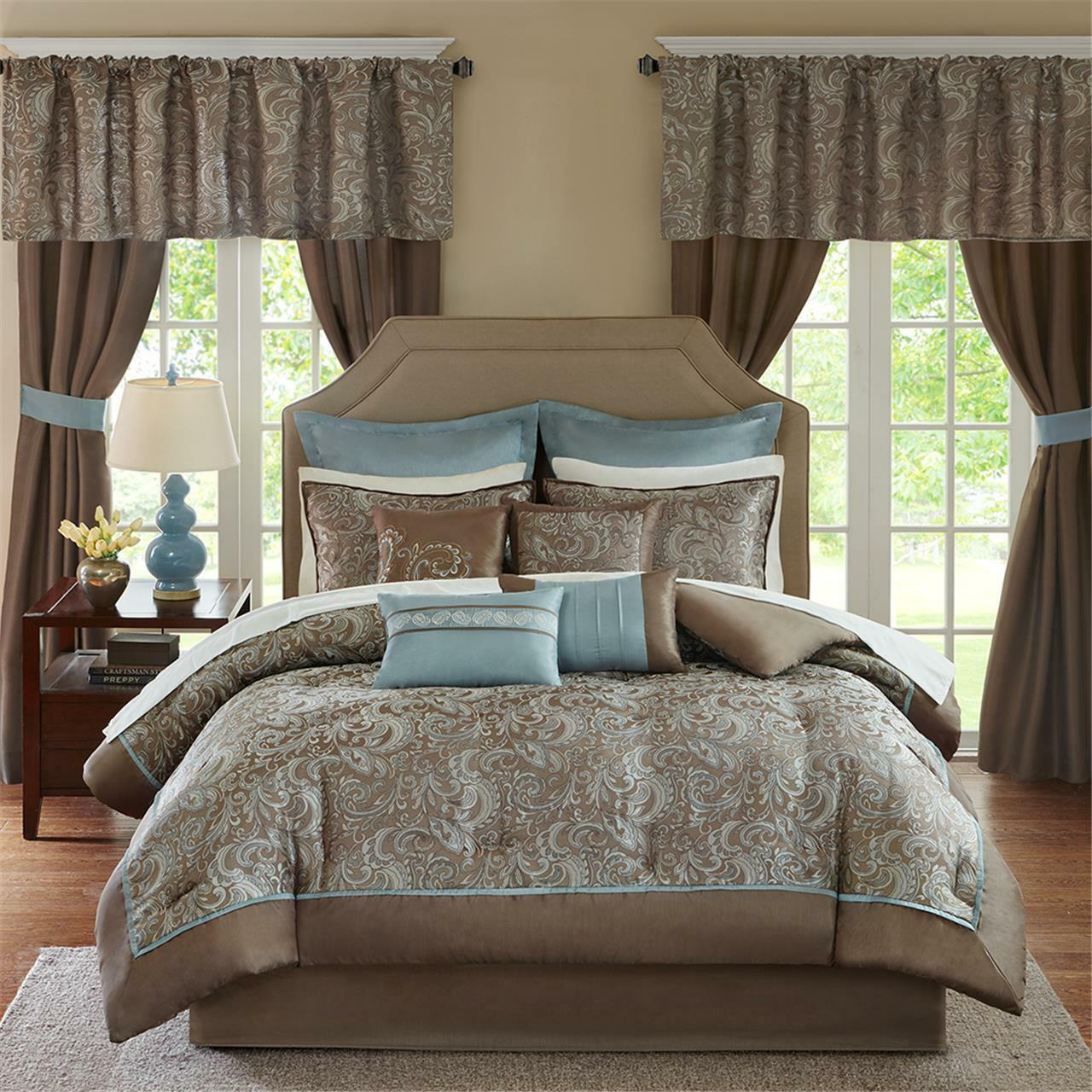 Deluxe Taupe braun Blau Paisley Comforter Curtain 24 pcs Cal King Queen Set New