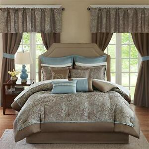 Deluxe Taupe Brown Blue Paisley Comforter Curtain 24 Pcs Cal King