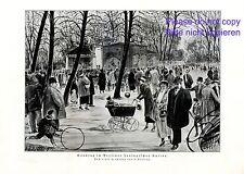 Zoologischer Garten Berlin Kunstdruck von 1924 Delling Zoo Sonntag Spaziergang