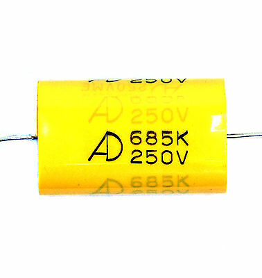 2pc MEA Metallized Polyester Film Capacitor 685K 685 6.8uF 250V K ±10% Axial AID