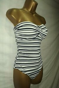 Details about LADIES NAVY BLUE & WHITE NAUTICAL STRIPE TEXTURED STRAPLESS SWIMSUIT ~ SIZE 12