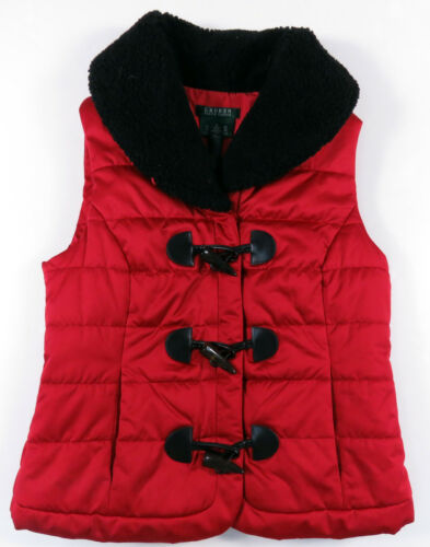 para mujer Chaleco Ralph Toggle S Collar rojo Puffer Sherpa negro acolchado Lauren 4aZwqEnAE5