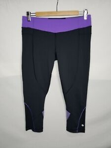 Lululemon Athletica Womens Crop Leggings Size 10 Large Black Purple Wet Dry Warm