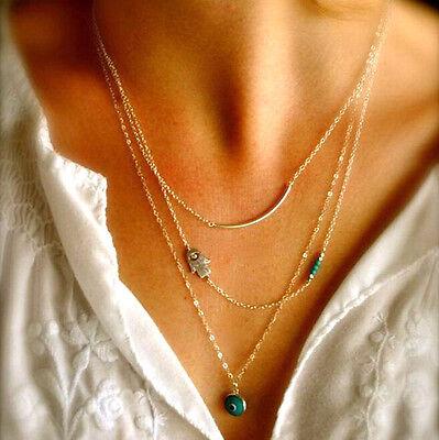 Charming Arabic Hamsa Hands Of Fatima Evil Eye Bead Turquoise Pendant Necklace