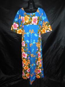 Vintage-Ui-Maikai-S-Blue-Pink-Orange-Floral-Hawaiian-Maxi-Dress-Empire-Barkcloth