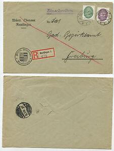 05453-Dienst-Einschreiben-von-Reutlingen-nach-Freiburg-25-7-1930-Beleg
