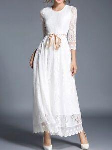 new product 6c774 07af3 Dettagli su Elegante vestito abito lungo bianco pizzo fashion maniche  lunghe slim 3913