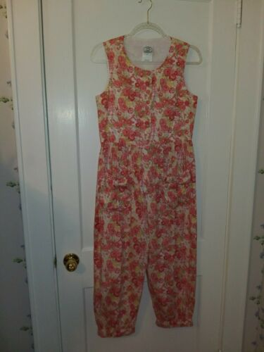 VINTAGE LAURA ASHLEY JUMPSUIT IN CORAL/WHITE/RED F
