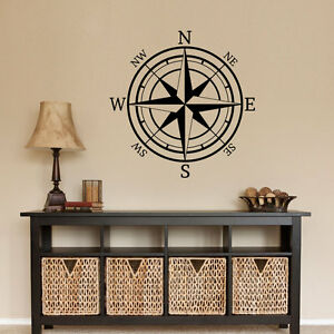 COMPASS-ROSE-Nautical-Mural-Vinyl-Wall-Art-Decal-Sticker-Decor-Lettering-Quote