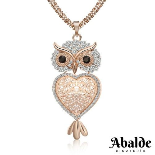 Collar Colgante Joya Mujer Diseño Búho Corazón Pedrería Accesorio Regalo ideal