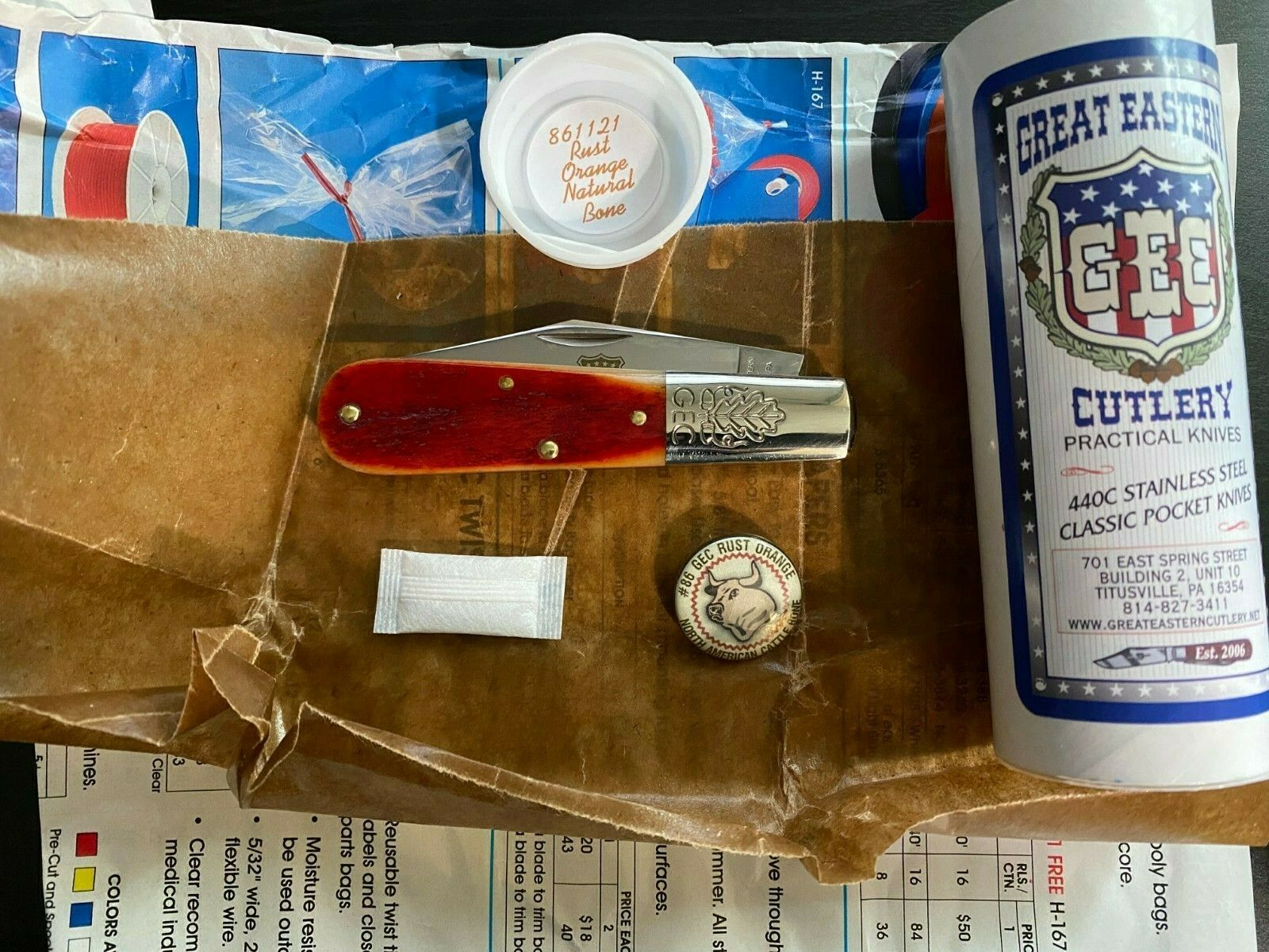 Great Eastern Cutlery GEC #86 Rust Orange Natural Bone 2A Barlow Knife 861221
