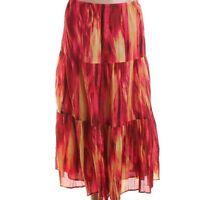 Jones York Red Cotton Tie-dye Pull On Broomstick Skirt Bottoms -