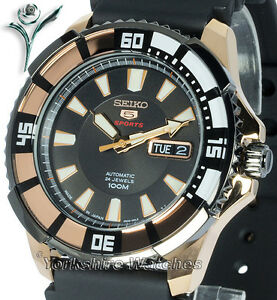 New-SEIKO-5-SPORTS-ROSE-GOLD-DAY-DATE-AUTO-RUBBER-DIVE-STRAP-SRP210K1-SRP210J1