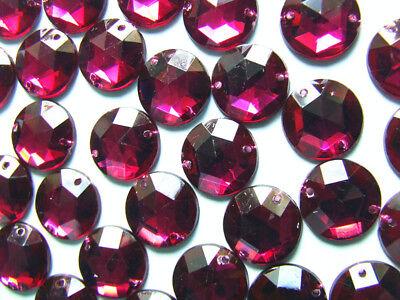 120 Burgundy//Wine Faceted Beads Acrylic Rhinestone//Gems 15 mm Flat Back StitchOn