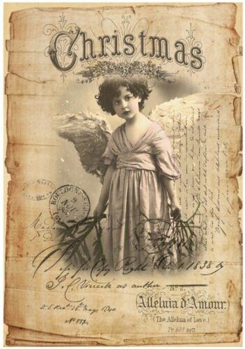 Decoupage-Bastelpapier-Softpapier-Vintage-Shabby-Weihnachten-Engel-12564