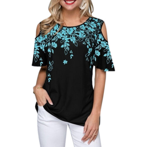 Womens Cold Shoulder T-shirt Summer Floral Blouse Ladies Casual Tee Tops 8-22 US