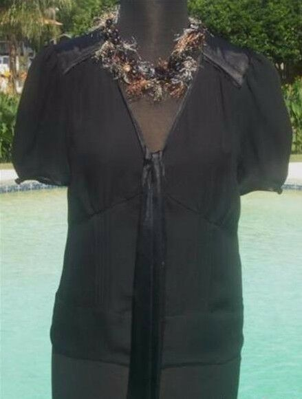 Cache Silk Front Button Self Tie Peek A Boo Sheer Top New Größe XS S M L  NWT