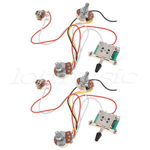 guitar wiring harness diy 2 set 3 pickup guitar wiring harness prewired volume tone ...