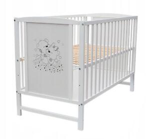 Babybett Gitterbett Kinderbett 120x60cm Weiß Bär Herzchen Motiv mit Matratze NEU