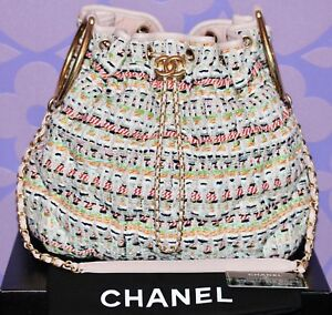 Details About Chanel 17c Cuba Cruise Fantasy Tweed Quilted Drawstring Bracelet Bucket C B Bag
