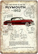 """1952 Plymouth, Chrysler Car Ad 10"""" x 7"""" Reproduction Metal Sign"""