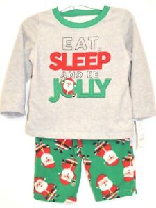 NEW Carters Baby First Christmas Pajamas Santa Jolly Size 12 /& 18M Long Sleeve