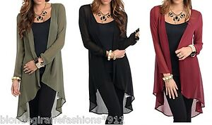 Black Fringe Trimmed Chiffon 3//4 Sleeve Open Front Tunic Cardigan//Cover-Up