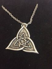 """CELTIC TRIANGLE DR55 Made From Fine Pewter On 24"""" Silver Plated Curb Necklace"""